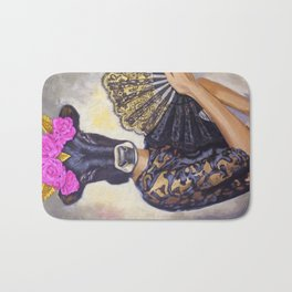 Flamenco-dancer with hand fan Bath Mat