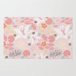 Pink Japanese pond florals Rug