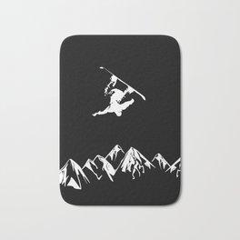 Rocky Mountain Snowboarder Catching Air Bath Mat