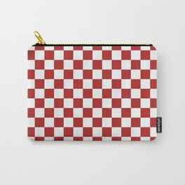 Small Checkered - White and Firebrick Red Carry-All Pouch
