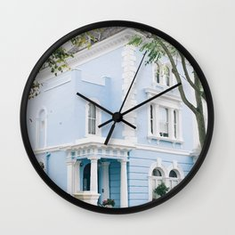 Blue pastel house Wall Clock
