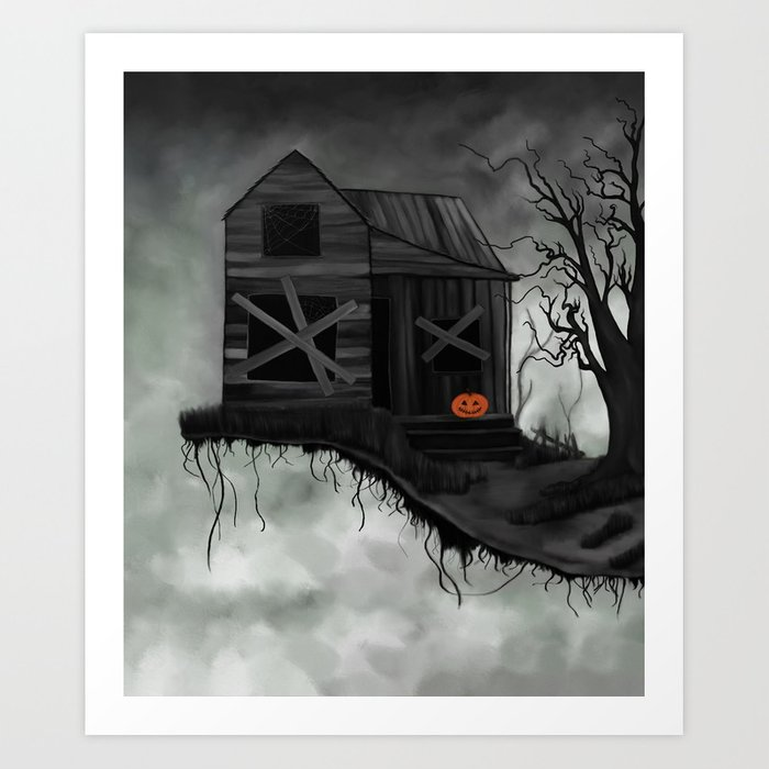 Haunted House and Jolly Pumpkin Art Print