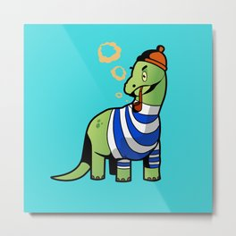 Dinosaur With A Pipe Metal Print