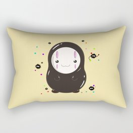 Spirited Away No Face Kawaii With Soot Sprites Rectangular Pillow