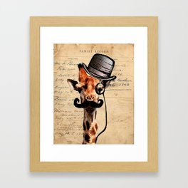 Giraffe Mustache Monocle Tophat Dandy Framed Art Print