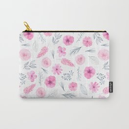 Modern elegant blush pink white watercolor hand painted floral Carry-All Pouch
