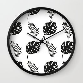 black and white tropical leaves Wall Clock