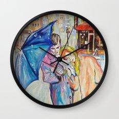 Paris, vintage, retro, love, painting. Wall Clock