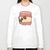 macaron Long Sleeve T-shirts featuring Puglie Macaron by Puglie Pug