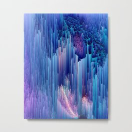 Beglitched Waterfall - Abstract Pixel Art Metal Print