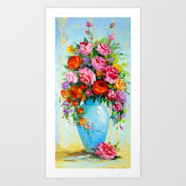 Bouquet of roses in a vase Art Print