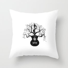 Guitar silhouette with tree branches and music notes Throw Pillow