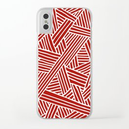 Abstract Navy Red & White Lines and Triangles Pattern- Mix and Match with Clear iPhone Case