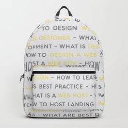 Yellow Web Design Keywords Poster Backpack