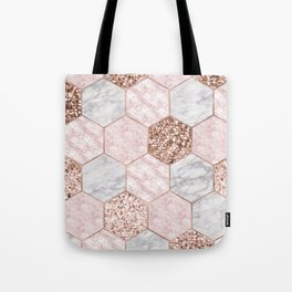 Rose gold dreaming - marble hexagons Tote Bag