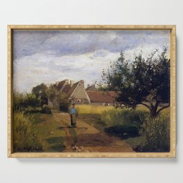 Entering a village by Camille Pissarro Serving Tray