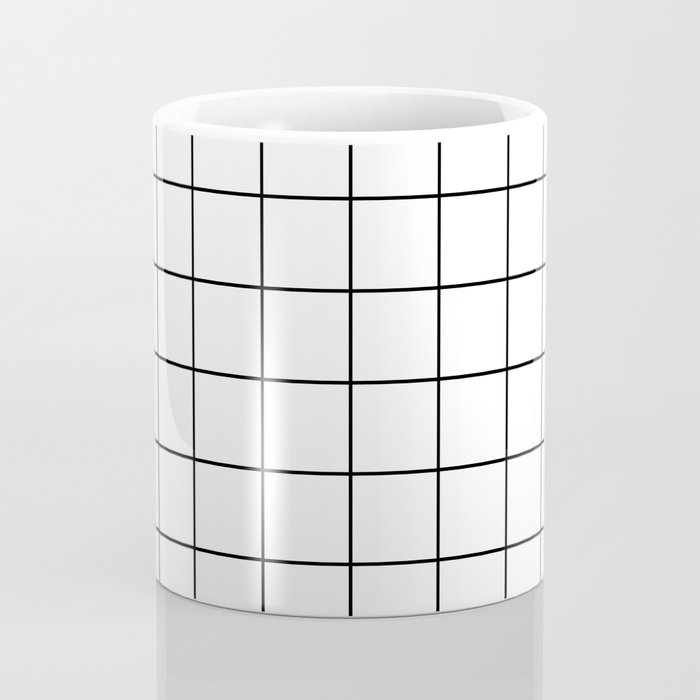 Grid Simple Line White Minimalist Coffee Mug