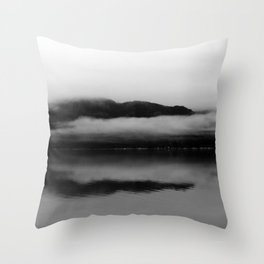 Black and White Alaska Photography, Enchanted Isle Throw Pillow