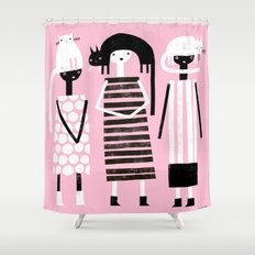 PINK BLACK & WHITE Shower Curtain