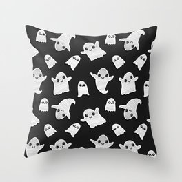 Black and White Hand Painted Kawaii Ghost Pattern Throw Pillow