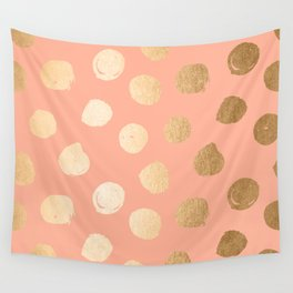 Sweet Life Polka Dots Peach Coral + Orange Sherbet Shimmer Wall Tapestry