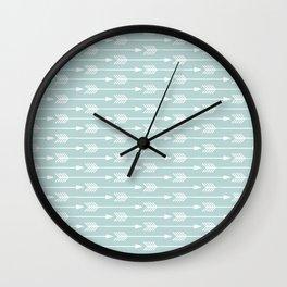 Mint Arrows Pattern Wall Clock