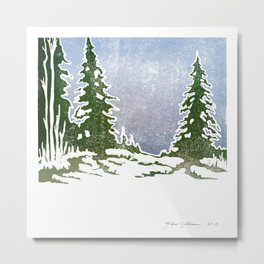 Snow and Evergreens Metal Print