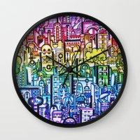 hong kong Wall Clocks featuring Hong kong by 2tehmax