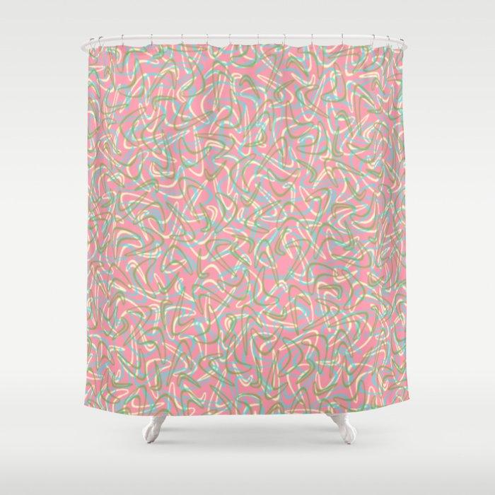 Boomerang Pink Shower Curtain