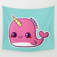 narwhal Wall Tapestries featuring Kawaii Pink Narwhal by Katie White