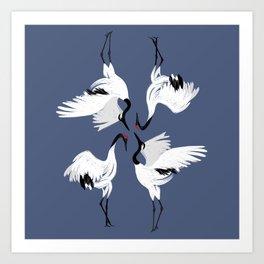 Crane Ballet - Blue Art Print