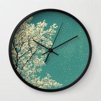 snow Wall Clocks featuring snow by Claudia Drossert