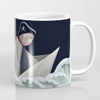 pirate ship Mugs featuring The Pirate Ship by Fizzyjinks