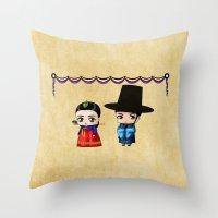 korean Throw Pillows featuring Korean Chibis by artwaste