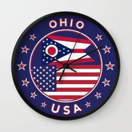 Ohio, USA States, Ohio t-shirt, Ohio sticker, circle Wall Clock
