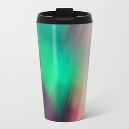 Big beautiful multicolored northern lights in Finland Travel Mug