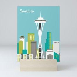 Seattle, Washington - Skyline Illustration by Loose Petals Mini Art Print