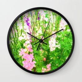 Larkspur Flowers in Soft oil Style Wall Clock