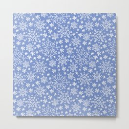 Snowflake doodle pattern on the blue backgrount Metal Print