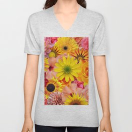 ORANGE FLOWERS Unisex V-Neck