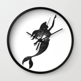 The Little Mermaid Cosmic Black and White Wall Clock