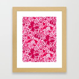 William Morris Iris and Lily, Fuchsia Pink and Burgundy Framed Art Print