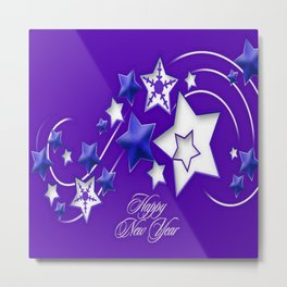 Blue and Purple Happy New Year Shooting Stars Metal Print