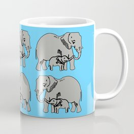 Elephants Pattern in Blue Coffee Mug