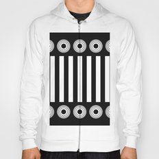 It's All In Black And White - Black and white stripes and concentric circles Hoody