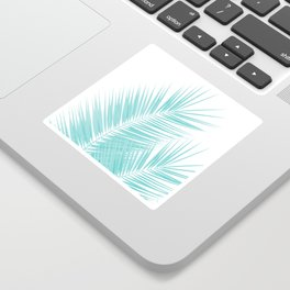 Soft Turquoise Palm Leaves Dream - Cali Summer Vibes #1 #tropical #decor #art #society6 Sticker