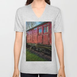 Old Train Wagon Unisex V-Neck