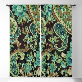 Brown Turquoise Paisley Blackout Curtain