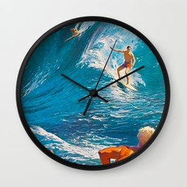 Hawaiian Surfer's Vintage Advertisement Poster Wall Clock