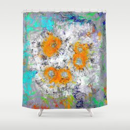 Abstract Floral Mixed Media Watercolor Ink Painting , orange & aqua Shower Curtain